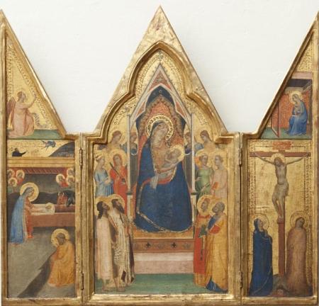 Triptych s Trůnící Pannou Marií s dítětem s anděly, světicemi a světci (střed)